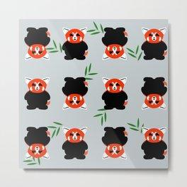 Red Panda Cubs Pattern Metal Print