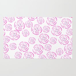Abstract pink white hand drawn roses pattern Rug