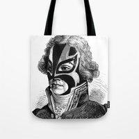 wrestling Tote Bags featuring WRESTLING MASK 11 by DIVIDUS DESIGN STUDIO