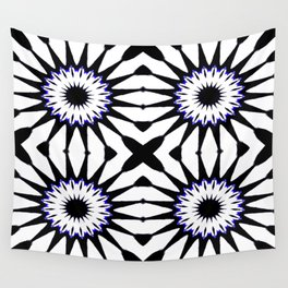 Black White Blue Pinwheel Flowers Wall Tapestry