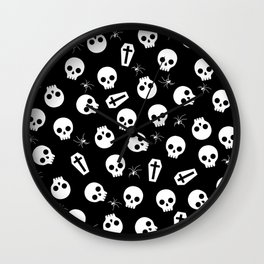 Skull, spider and chest  - Halloween pattern Wall Clock