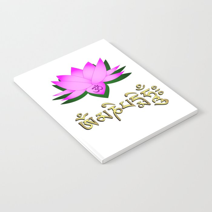 Lotus Flower Om Symbol And Mantra Om Mani Padme Hum Notebook By