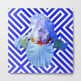 MODERN BLUE & WHITE ART DECO PATTERN IRIS Metal Print