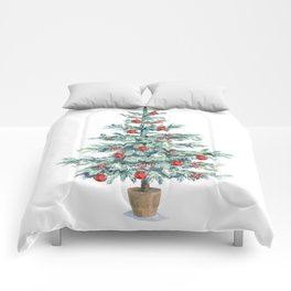Christmas tree with red balls Comforters