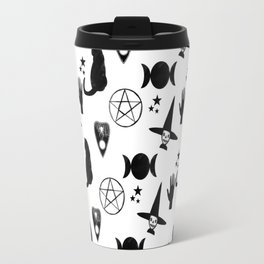 Creepy Cute Halloween Apparel Design, Witches and Cats Travel Mug