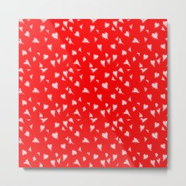 Scattered Hand-Drawn Bright Blush Pink Painted Hearts Pattern on Bright Red Metal Print