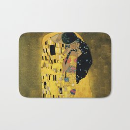 Curly version of The Kiss by Klimt Bath Mat