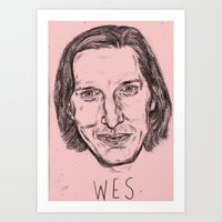 wes anderson Art Prints featuring WES ANDERSON by Beth Dunne