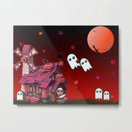 Halloween Pumpkin House Metal Print