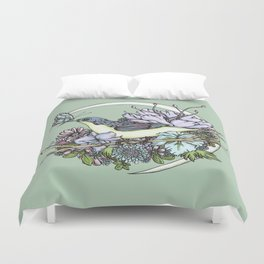 Bird and Butterfly Moon in Green Duvet Cover