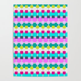 Geometric Pattern Neon Hot Pink Aqua Turquoise Duvet Cover Tote Bag IPad Case Pillow Curtains Poster