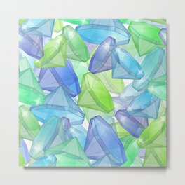 Placer precious stones, yellow , green , blue . Metal Print