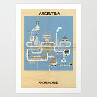 argentina Art Prints featuring Argentina by federico babina