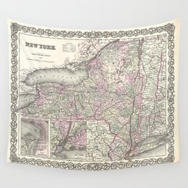 New York Map print from 1855 Wall Tapestry