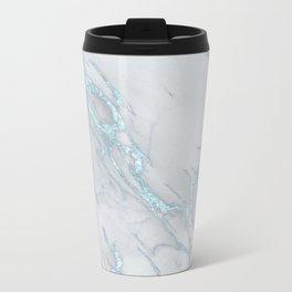 Marble Love Sea Blue Metallic Metal Travel Mug