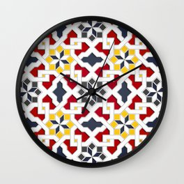 Traditional oriental pattern design -  geometric mosaic style Wall Clock
