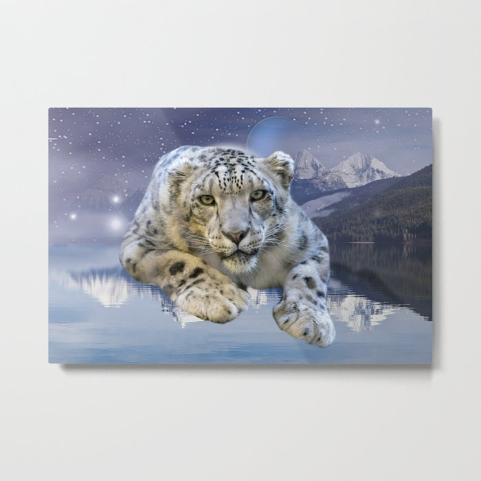 Snow Leopard and Moon Metal Print