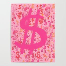 Pink Dollar Signs Poster