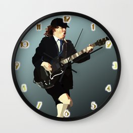 Low Polygon Portrait of Angus Young Wall Clock