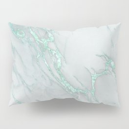 Marble Love Mint Metallic Pillow Sham