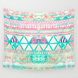 Pink Teal Aztec Pattern Triangles Girly Watercolor Wall Tapestry