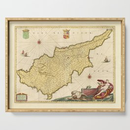 Vintage Cyprus Map (1665) Serving Tray