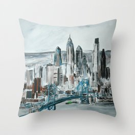 Philadelphia, Pennsylvania, USA Fine Art Acrylic Painting Throw Pillow