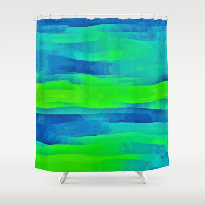 Lime Green Blue Stripes Abstract Shower Curtain