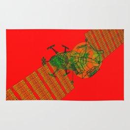 Explorer Schematic Warped Green on Red Rug
