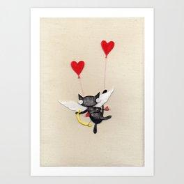 Zombie Kitty Plays Cupid Art Print