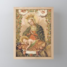 The Virgin Adoring the Christ Child with Two Saints Framed Mini Art Print