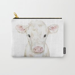 Baby White Cow Calf Watercolor Farm Animal Carry-All Pouch