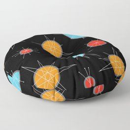 Atomic Age Colorful Planets Dark Floor Pillow