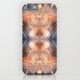 Beautiful golden fireworks surreal shaped symmetrical kaleidoscope iPhone Case