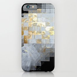 Squares in Gold and Silver iPhone Case