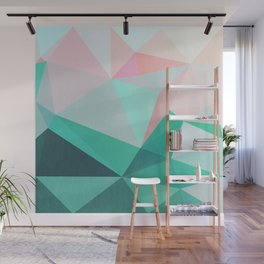Geometric Landscape - Pink and Green Wall Mural