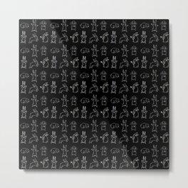 Bunny pattern black Metal Print