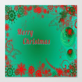 Merry Christmas in Green and Red Canvas Print
