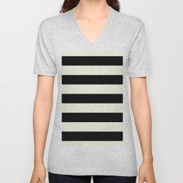 Preppy mid century modern minimalist Paris Chic Black And White Stripes Unisex V-Neck