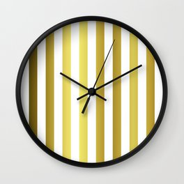 Gold and White Large Summer Beach Hut Stripes Wall Clock