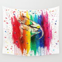 sphynx Wall Tapestries featuring Unicorn Sphynx by Psyca