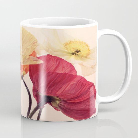 Posing Poppies - bright, vintage toned poppy still life Mug