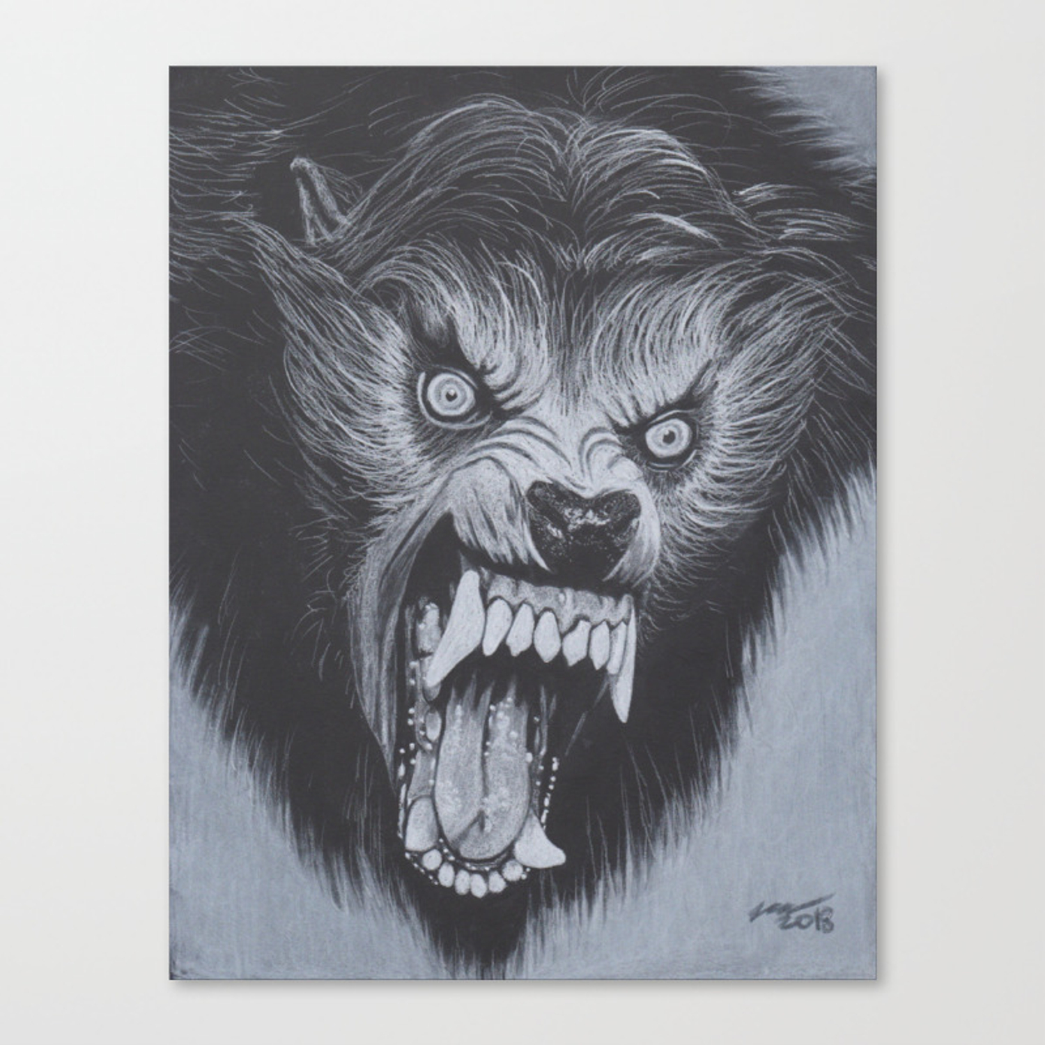 Charcoal Drawing Of Werewolf From American Werewolf In London