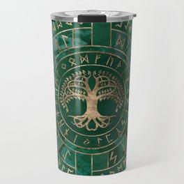 Tree of life -Yggdrasil and Futhark - Malachite Travel Mug