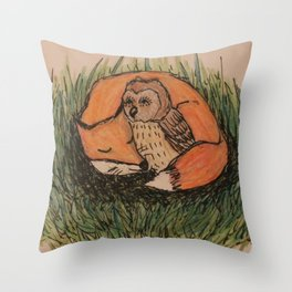 Fox & Owl Throw Pillow