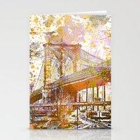 brooklyn bridge Stationery Cards featuring Brooklyn Bridge by LebensART
