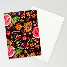 Tropical Fruit Festival in Black | Frutas Tropicales en Negro Stationery Cards