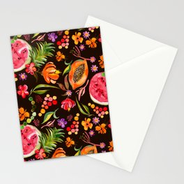Tropical Fruit Festival in Black | Frutas Tropicales en Negro Stationery Cards