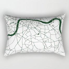 London White on Green Street Map Rectangular Pillow