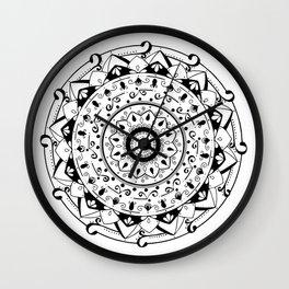 patience black mandala on white Wall Clock